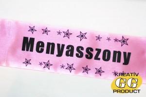 Rózsaszín lánybúcsú szalag fekete felirattal